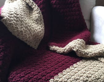 Ready to ship crochet blanket - dark red and tan handmade throw - chunky crochet afghan - crochet throw- blanket-home decor - knit blanket