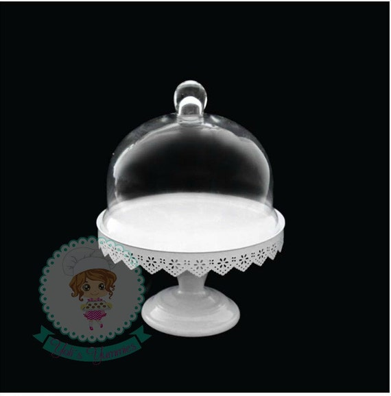 fast shipping 11 inch glass dome cover cake stand with metal. Black Bedroom Furniture Sets. Home Design Ideas