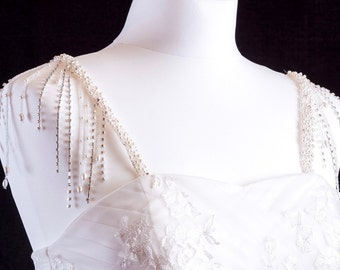 Pearl And Diamante Fringed Attachable Bridal Straps - Made To Measure - BELLATRIX