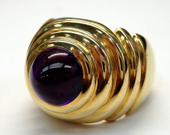 18k Yellow Gold Cabochon Amethyst Ring Size 6.75 # 262755743802