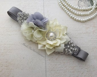 Gray Sash belt, gray ivory flower girl Sash, bridal sash, Bridal Belt, Flower girl belt, Bridesmaid Sash/Belt, Maternity Sash/belt