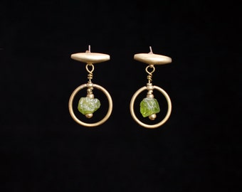 PONTIA peridot earrings : modern bronze earrings