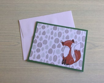 Woodland Fox card, birthday card, any occasion card, blank card, all occasions, note card, greeting card, gift card with envelope, cute card