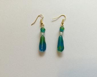 Blue bead earrings, two tone dangle earrings, green, Birthday gift idea, pierced earrings, hook earrings