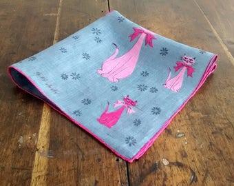 Pink and Gray Cats Handkerchief
