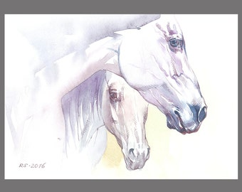 White Horses painting 11.6x16.5 inches Art Print from the Original watercolor Painting