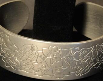 Kirk pewter cuff bracelet, violet, engraved violets flower design, vintage bracelet, pewter bracelet, signed bracelet, Kirk jeweler mark