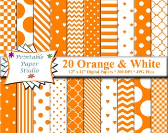 Orange Digital Paper Pack, 12x12 Scrapbook Paper, Orange Paper Instant Download Digital File for Scrapbooking, Orange Patterned Paper
