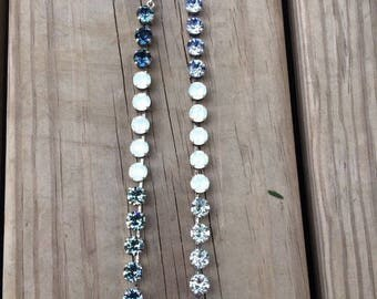 Swarovski crystal necklace 8mm blue ombre with white opal