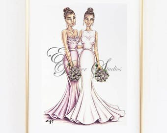 Custom Bridal Illustration of 2 People - Ink and Coloured Pencil Illustration
