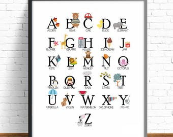 English alphabet print, english alphabet, nursery alphabet, kids room decor, english abc, kids art room, nursery decor, nursery room