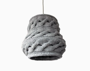 Knitted Lampshade LUUKA / Pendant Light / Unique Knitted Home Decor / Light Gray Hanging Shade - Made-to-order