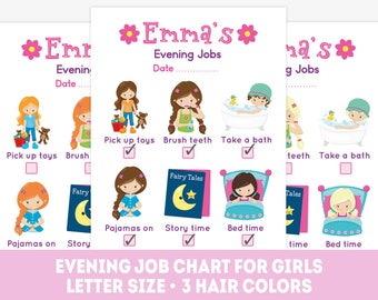 Bedtime chore chart, girl evening routine, printable reward chart, gril to do list, kids job chart, bedtime routine, girl evening job chart