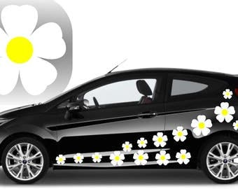 20,white flower car decals,stickers in three sizes