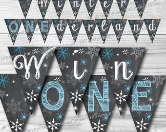 Winter ONEderland Banner INSTANT DOWNLOAD- Printable blue Winter Wonderland Banner - Winter Wonderland Party - Winter ONEderland Party
