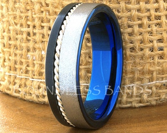 Tungsten Ring Tungsten Wedding Ring Mens Wedding Ring Promise Anniversary Engagement 7mm Tricolor Black And Blue Woven Silver Inlay Ring New