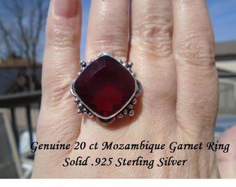 20 ct Mozambique Garnet Ring Size 7