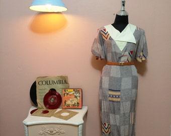 0ray Dress, Womens dresses, Vintage Geometric Dress, Retro Dress, Summer Dress, Unique Women Dress, 70s Fashion, 70s Dress, Free Shipping