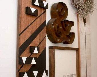 Modern chevron geometric wall art, Wooden Sign, Hand Painted, chevron sign, tribal style wall decor, boho chic wall art, triangle, striped