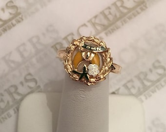 Vintage 14k yg Ring Enameled Crescent Moon & Flower in Wreath with D of N Daughters of the Nile Masonic Fraternal Organization size 8