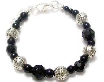 Black and Silver Filigree Bead Bracelet, Silver Filigree Bead Bracelet, Black Silver Bracelet, Black Faceted Bead Bracelet, Bead Bracelet