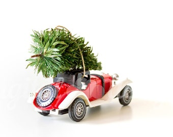 Vintage Car Christmas Tree Ornament Back Corner Mock up Styled Stock Photography Retro Christmas Photo Design Xmas Tree  Image