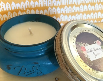 CLEARANCE! 8oz Wild Berry Jam Soy Candle// Turquoise Painted & Distressed Jar/ Phthalate-free!