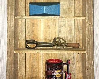 Rustic reclaimed wood shelf