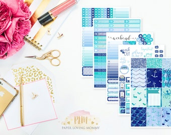 Anchors Away Weekly Kit | Planner Stickers designed for use with the Erin Condren Life Planner