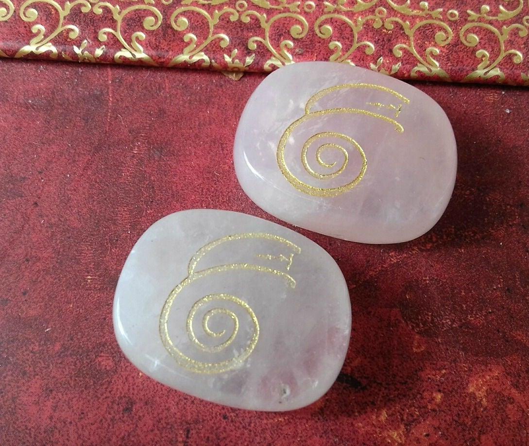 Rose Quartz Energy Charged Crystal Dai Ko Myo Reiki Symbol Stone