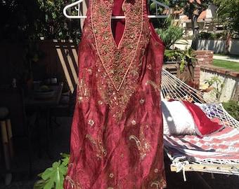 Interesting little VINTAGE beaded Indian dress