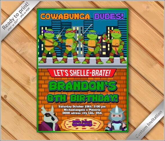 Ninja Turtles Invitation Personalized Tmnt Invitation Turtles