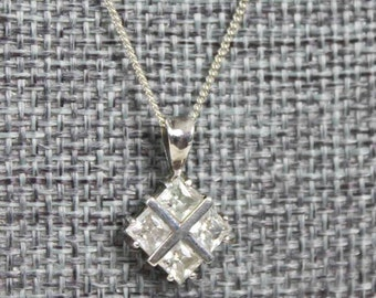 Vintage Estate Sterling Silver Diamond X Shaped CZ Pendant on 18 Inch Sterling Rope Chain