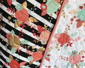 Baby girl Quilt, Modern Floral Quilt, Tribal floral Quilt, Coral, Mint and Gold Baby girl Quilt, Baby shower gift.