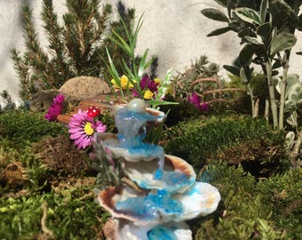 Fairy fountain sea shell miniature, fairy accessories, terririum fountain,miniature sea shell fountain,Sea Shell Waterfall,fairy accent,