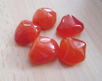 Carnelian Tumbled Stones - Pack 5 Crystals - With Pouch & Brief Information