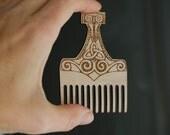Hammer Thor Mjolnir Beard Comb Men gift for beard lovers for him Beard care men accessories grooming gift under 10