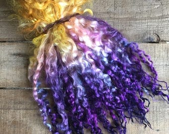"""11-12 inch Teeswater Locks, Doll Hair, Spinning Locks, Weaving, Felting, Fringe, Crafts, Hand Dyed, """"Lilac Moon"""" 1 ounce"""