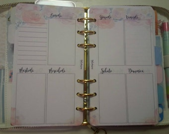 Weekly planner refill perpetual weekly (undated) with vertical view two-page personal format/medium
