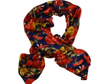 Blue scarf with red roses - 'Alexandria'