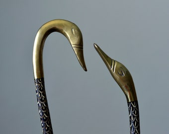Vintage,Carving Brass,Swans Figurine,Brass Swans, A pair of swans
