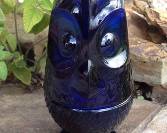 Vintage Viking Art Glass Charcoal Blue Owl Glimmer Candle Holder Fairy Lamp