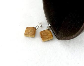 Little wooden earrings, simple square in cypress wood