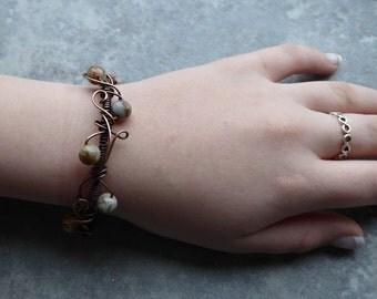 Crazy Lace Agate  Bracelet, Crazy Lace Bangle Cuff, Wire Wrapped Jewelry, Crazy Lace Agate Jewelry, Daughter Gift, Adjustable Length