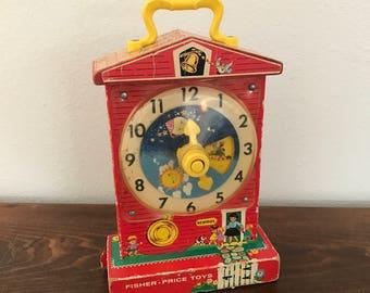 Fisher Price Music Box Teaching Clock - Vintage Toys