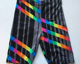Jacques Moret Bike Shorts Spandex 90's Rad Size Large Made in USA Stripe Rainbow Black Gray
