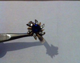 Blue Topaz, Zircon Turkish 2 TONE Sterling Silver Ring US 8