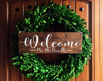 Welcome Sign | Welcome Door Sign | Front Door Sign | Personalized wedding Sign | Personalized Family Sign | Last Name Sign | Family sign