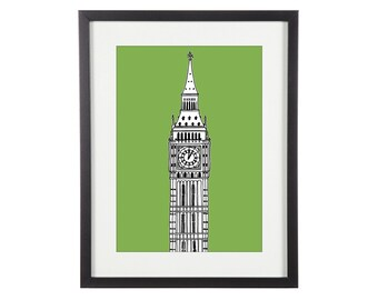 Big Ben Print | London Print | London Prints | London Illustration | City Prints | Architectural Print | Architectural Drawing