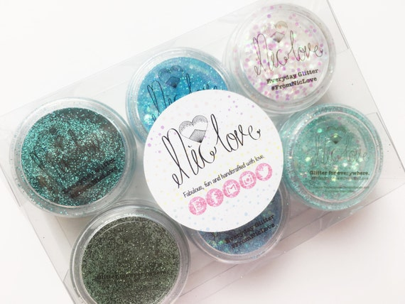 Mermaid Blues Cosmetic Face Glitter Set